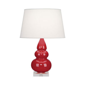 Small Triple Gourd Ruby Red Ceramic One-Light Table Lamp