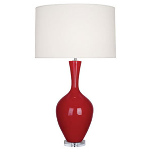 Audrey Polished Nickel and Ruby Red One-Light Table Lamp