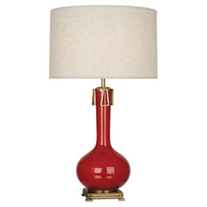 Athena Ruby Red and Aged Brass One-Light Table Lamp