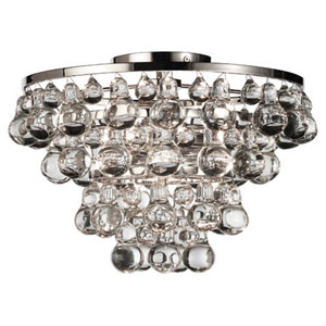Bling Polished Nickel Two-Light Flush Mount
