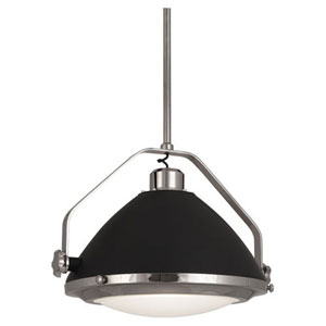 Apollo Polished Nickel and Gray Paint 22-Inch One-Light Pendant