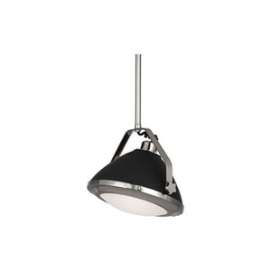 Apollo Polished Nickel and Gray Paint 13.5-Inch One-Light Pendant