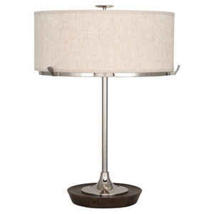 Edwin Polished Nickel and Dark Walnut Two-Light Table Lamp