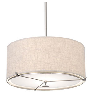 Edwin Polished Nickel And Dark Walnut Two-Light Drum Pendant
