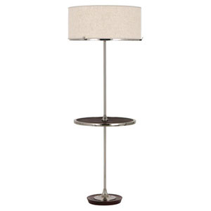 Edwin Polished Nickel And Dark Walnut Two-Light Floor Lamp with Tray