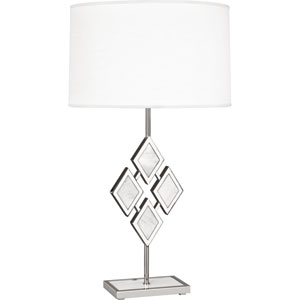 Edward Polished Nickel One-Light 29-Inch White Marble Table Lamp with White Shade