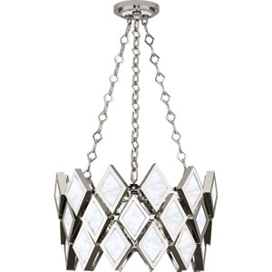Edward Polished Nickel Three-Light White Marble Pendant