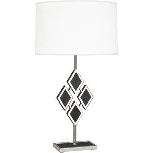 Edward Polished Nickel One-Light 29-Inch Black Marble Table Lamp with White Shade