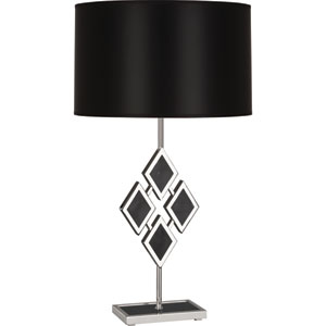 Edward Polished Nickel One-Light 29-Inch Black Marble Table Lamp with Black Shade