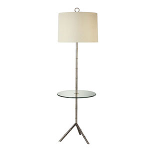 Jonathan Adler Meurice Polished Nickel Lamp with Tray and Off-White Shade