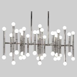 Jonathan Adler Meurice Polished Nickel 42-Light LED Chandelier