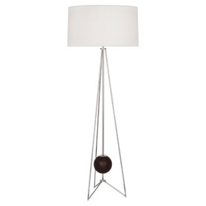 Jonathan Adler Ojai Dark Walnut and Polished Nickel One-Light Floor Lamp