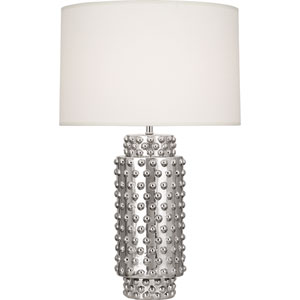 Dolly Polished Nickel One-Light 27-Inch Table Lamp with White Shade