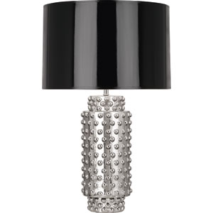 Dolly Polished Nickel One-Light 27-Inch Table Lamp with Black Shade