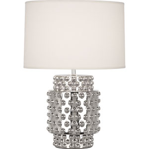 Dolly Polished Nickel One-Light 21-Inch Table Lamp with White Shade