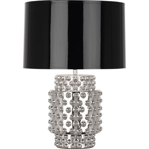 Dolly Polished Nickel One-Light 21-Inch Table Lamp with Black Shade