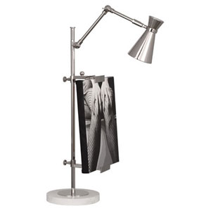 Jonathan Adler Bristol Polished Nickel and Carrara Marble One-Light Desk Lamp