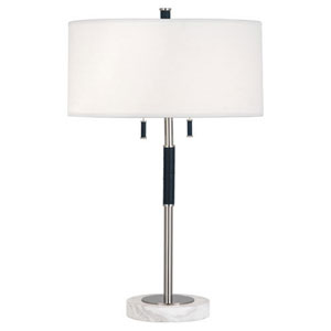 Jonathan Adler Geneva Polished Nickel and Navy Leather Two-Light Table Lamp