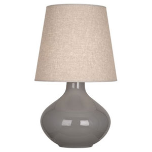 June Polished Nickel and Smokey Taupe One-Light Lamp with Buff Linen Shade