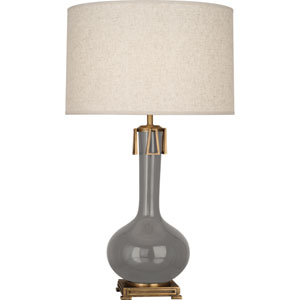 Athe Smoky Taupe and Aged Brass One-Light Ceramic Table Lamp