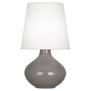 June Polished Nickel and Smokey Taupe One-Light Lamp with Oyster Linen Shade