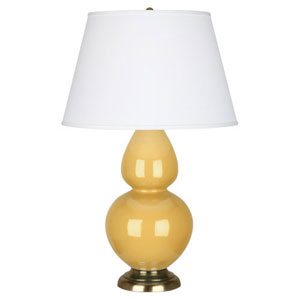 Double Gourd Sunset and Antique Brass One-Light Table Lamp with Empire Shade