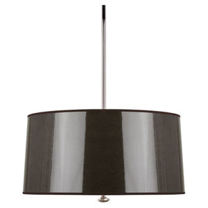 Penelope Dark Taupe and Polished Nickel Three-Light Drum Pendant