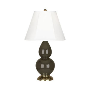 Small Double Gourd Brown Tea and Antique Brass One-Light Table Lamp