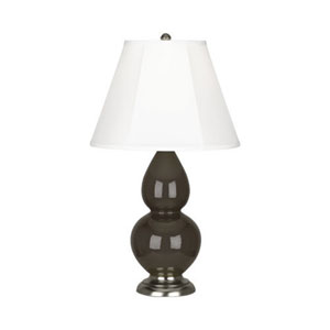 Small Double Gourd Brown Tea and Silver One-Light Lamp with Bell Shade