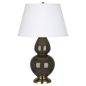 Double Gourd Brown Tea and Antique Brass One-Light Lamp with Empire Shade