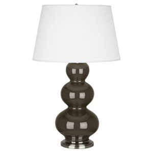 Triple Gourd Brown Tea Ceramic and Antique Silver One-Light Table Lamp