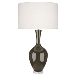 Audrey Polished Nickel and Brown Tea One-Light Table Lamp