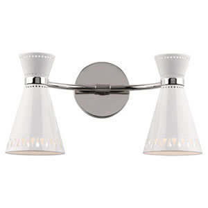 Jonathan Adler Havana Polished Nickel Plug-In Two-Light Sconce