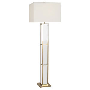 Jonathan Adler Barcelona Polished Brass and White One-Light Floor Lamp