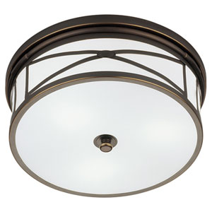 Chase Deep Patina Bronze Three-Light Flush Mount