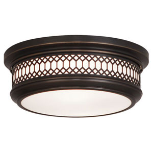 Williamsburg Tucker Deep Patina Bronze Two-Light Flush Mount
