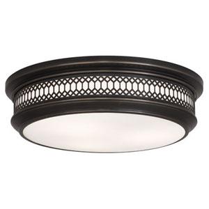 Williamsburg Tucker Deep Patina Bronze Three-Light Flush Mount