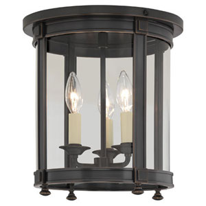Blake Deep Patina Bronze Three-Light Flush Mount