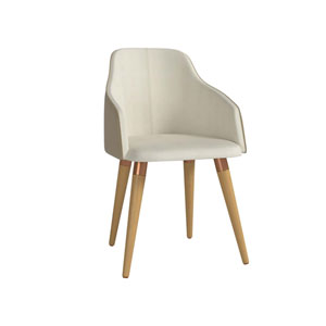 Martha Beige Double-Sided Leather Accent Chair