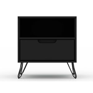 Rockefeller Black One-Drawer Nightstand