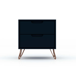 Rockefeller Blue Two-Drawer Nightstand