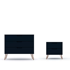 Rockefeller Blue Dresser Nightstand, Set of 2