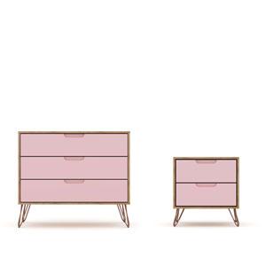 Rockefeller Pink Dresser Nightstand, Set of 2