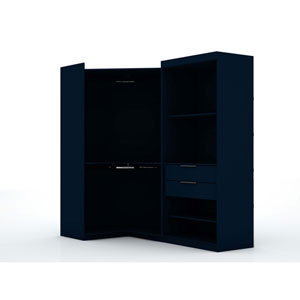 Blue Two Sectional Two Drawers Storage Armoires