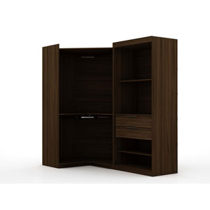 Brown Two Sectional Two Drawers Storage Armoires