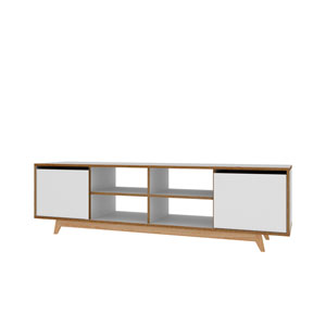 White 63-Inch Eight Shelves TV Stand