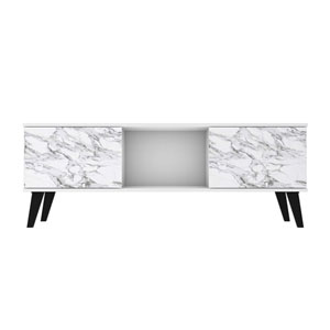 Doyers White and Marble Stamp TV Stand