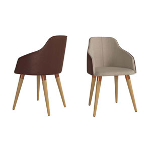 Martha Brown Accent Chair, Set of 2