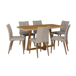 Duffy and Charles Off White and Grey Rectangle Dining Table, Set of 7