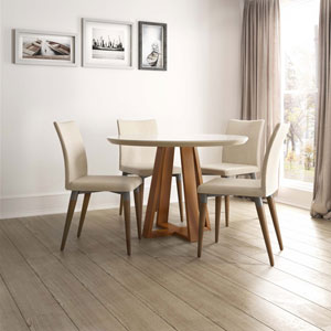 Duffy and Charles Off White and Dark Beige Round Dining Table, Set of 5